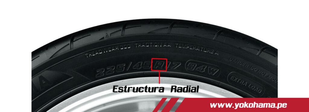 Medida de una llanta estructura radial